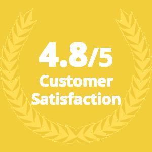 4.8/5 customer satisfaction rate