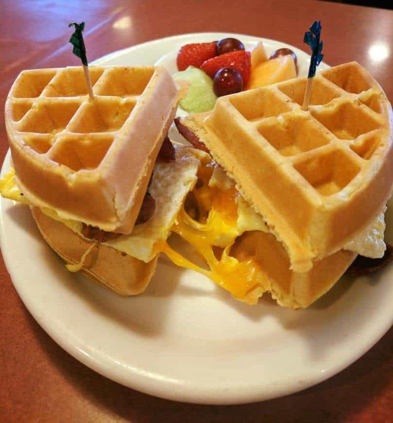 Waffle egg sandwich