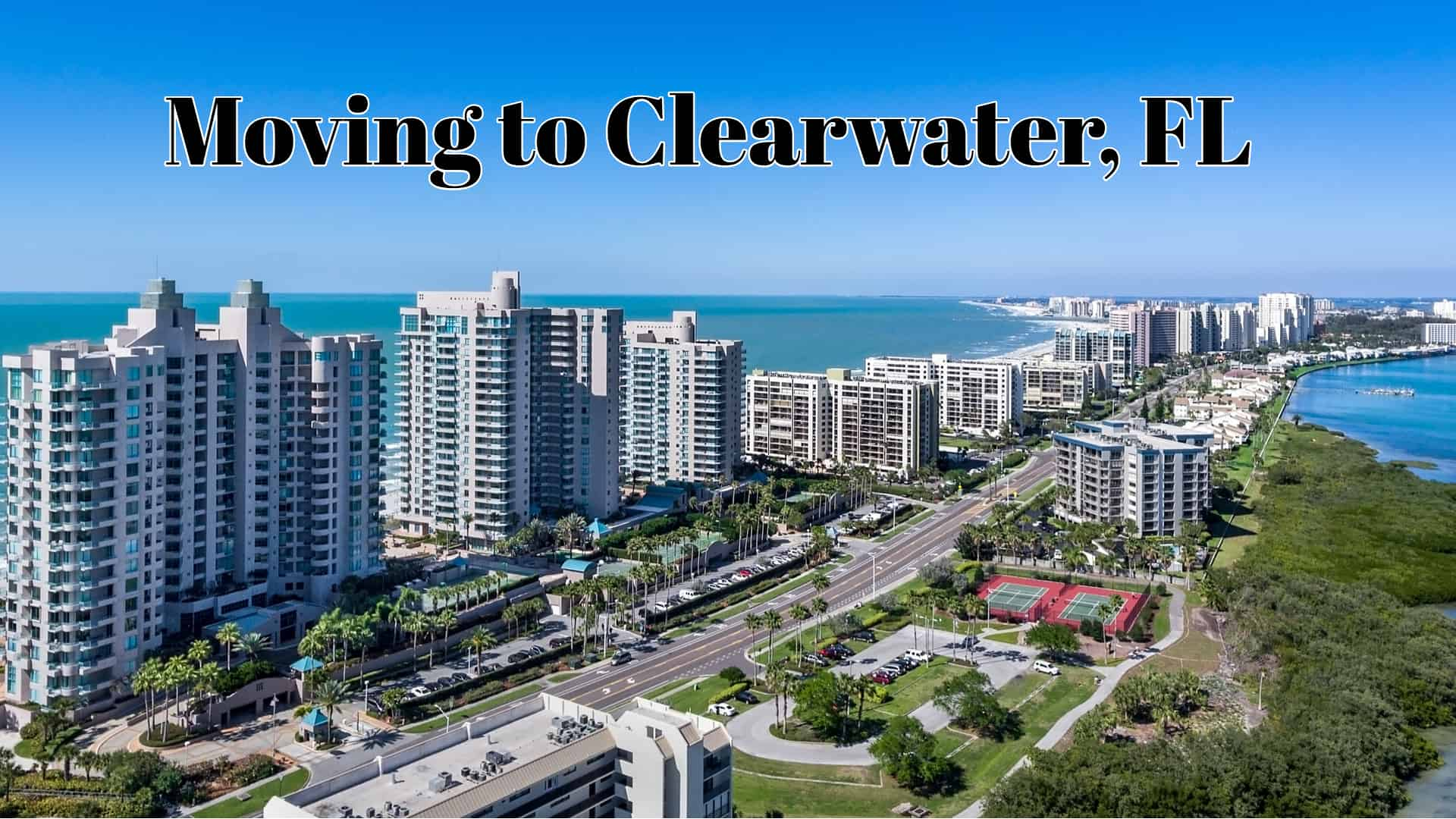 Aerial view of Clearwater, FL and the ocean beyond.