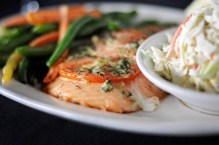 Plate of cooked salmon.